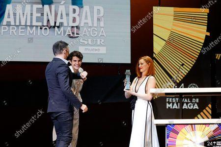 Ana Polvorosa presents the Malaga Sur award to Alejandro Amenabar during the Malaga Sur Award Gala of Festival de Malaga 2021.
