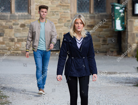 Stock Image of Emmerdale - Ep 9077 Sunday 20th June 2021 Jacob Gallagher, as played by Joe Warren-Plant, and Leanna Cavanagah, as played by Mimi Slinger, argue.