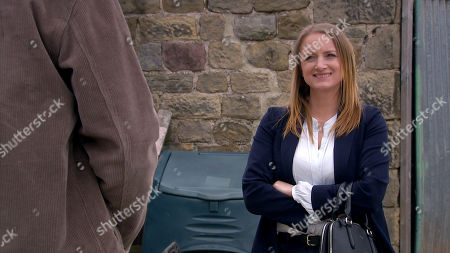Emmerdale - Ep 9067 Tuesday 8th June 2021 Nicola King, as played by Nicola Wheeler, is glammed-up as she appears to make a move on Mack at the scrapyard. Mack thinks his dreams are coming true. But are they?