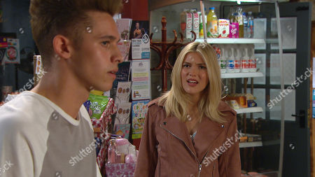 Stock Picture of Emmerdale - Ep 9078 & Ep 9079 Monday 21st June 2021 Billy Fletcher is angry when Jacob Gallagher, as played by Joe Warren-Plant, confronts him about Leanna Cavanagh, as played by Mimi Slinger, (she told him she had a crush on Billy), making him out to be a paedophile. Walking in on the confrontation, Leanna's horrified.