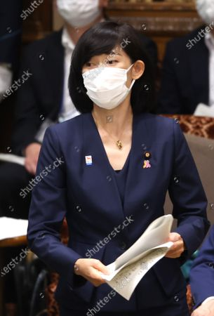 Japanese Olympic Minister Tamayo Marukawa answers a question at Upper House's audit committee session at the National Diet in Tokyo on Monday, June 7, 2021.