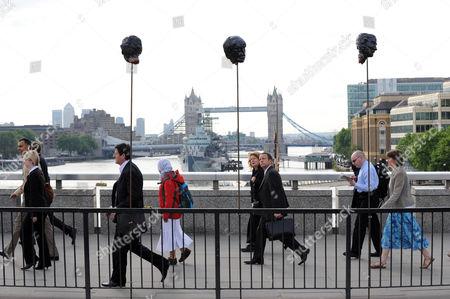 Effigies Of Sir Fred Goodwin On London Bridge Today Picture Jeremy Selwyn 17/06/2009