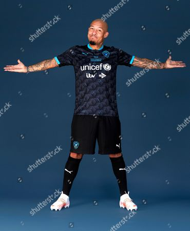 Nigel De Jong poses in a Soccer Aid for UNICEF football kit for the launch of Soccer Aid for UNICEF 2021. Nigel De Jong will be taking part in Soccer Aid for UNICEF 2021, which takes place on Saturday 4th September at the Etihad Stadium. The money raised from this year's game will help UNICEF fight back against the Covid-19 pandemic by helping to deliver 2 billion vaccines worldwide. Tickets are available at: socceraid.org.uk/tickets