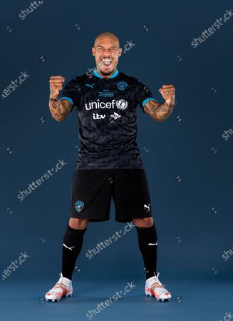 Stock Photo of Nigel De Jong poses in a Soccer Aid for UNICEF football kit for the launch of Soccer Aid for UNICEF 2021. Nigel De Jong will be taking part in Soccer Aid for UNICEF 2021, which takes place on Saturday 4th September at the Etihad Stadium. The money raised from this year's game will help UNICEF fight back against the Covid-19 pandemic by helping to deliver 2 billion vaccines worldwide. Tickets are available at: socceraid.org.uk/tickets