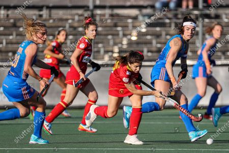 Alicia Magaz (C-R) of Spain in action against Dutch players Laura Nunnink (L) and Eva de Goede (R) during the European Hockey Championship women pool A match between Spain and the Netherlands at the Wagener Stadium in Amstelveen, Netherlands, 07 June 2021.