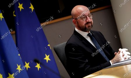 European Council President Charles Michel during a video meeting with Mozambique's President Filipe Nyusi (not pictured) at the European Council building in Brussels, Belgium, 07 June 2021.