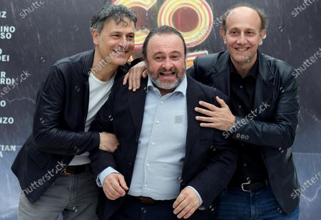 Italian actors Alessandro Besentini (R) and Francesco Villa (L), aka Ale and Franz, with Italian actor Natalino Balasso (C) pose during a photocall for the movie 'Comedians' in Rome, Italy, 07 June 2021. The movie opens in Italian theaters on 10 June.