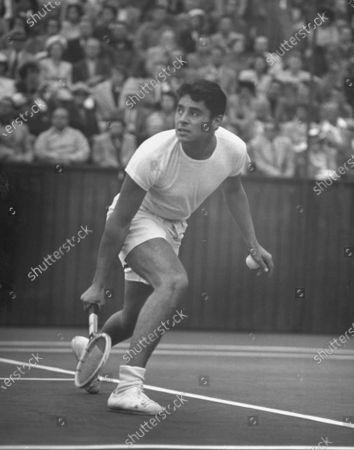 Tennis star Richard Alonzo Pancho Gonzalez, 21 year-old, playing tennis.
