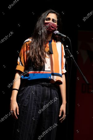 Stock Picture of Actress Alba Flores intervenes in an open mic to denounce threats on social networks in Madrid. The initiative comes after the smear campaign and attack on the author and monologuist Pamela Palenciano, through the social networkMART Instagram, for a series of monologues uploaded to social networks and criticized by several users.