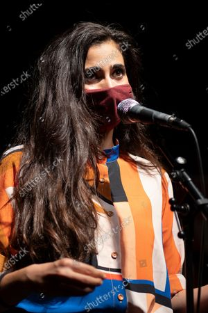 Stock Image of Actress Alba Flores intervenes in an open mic to denounce threats on social networks in Madrid. The initiative comes after the smear campaign and attack on the author and monologuist Pamela Palenciano, through the social networkMART Instagram, for a series of monologues uploaded to social networks and criticized by several users.
