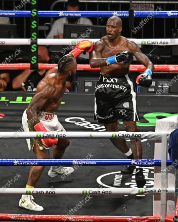 Stock Photo of Chad Johnson Vs Brian Maxwell during their contracted exhibition boxing match at Hard Rock Stadium in Miami Gardens, Florida. America - 06 Jun 2021