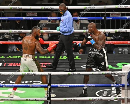 Stock Picture of Chad Johnson Vs Brian Maxwell during their contracted exhibition boxing match at Hard Rock Stadium in Miami Gardens, Florida. America - 06 Jun 2021