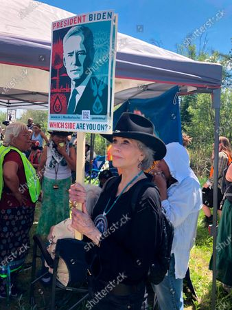 """Stock Picture of Activist Jane Fonda joins hundreds of protesters chanting """"Stop Line 3!"""" and """"Water is life!"""" gathered at the headwaters of the Mississippi River in in Solway, Minn., on to resist a Canadian-based company's plan to replace an aging pipeline that carries crude oil from Alberta to Wisconsin"""