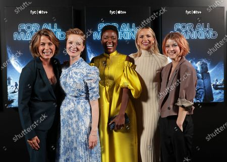"""Cast members Sonya Walger, Wrenn Schmidt, Krys Marshall, Shantel VanSanten and Sarah Jones of """"For All Mankind"""" at Apple's FYC Summer Screening Series at The Ford Amphitheater. Season two of """"For All Mankind"""" is now available for streaming on Apple TV+."""