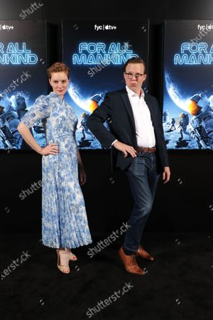"""Cast member Wrenn Schmidt and Creator, Writer, and Executive Producer Matt Wolpert of """"For All Mankind"""" at Apple's FYC Summer Screening Series at The Ford Amphitheater. Season two of """"For All Mankind"""" is now available for streaming on Apple TV+."""