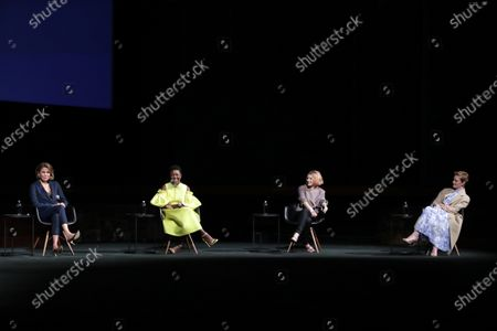 """Stock Picture of Cast members Sonya Walger, Krys Marshall, Sarah Jones and Wrenn Schmidt of """"For All Mankind"""" at Apple's FYC Summer Screening Series at The Ford Amphitheater. Season two of """"For All Mankind"""" is now available for streaming on Apple TV+."""