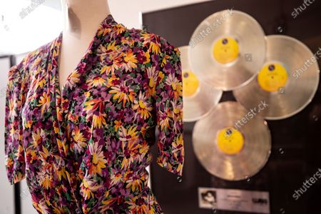 Stock Image of Madonna's 'Evita' Costume is displayed during the preview of the auction 'Music Icons' at Julien's Auctions in Beverly Hills, California, USA, 07 June 2021. The public auction will take place from 11 to 13 June 2021.