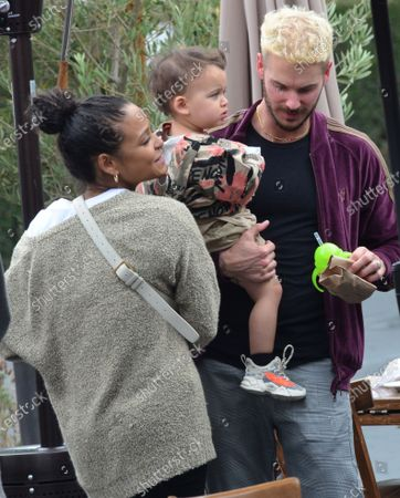 Stock Image of Christina Milian is seen out in West Hollywood with husband M Pokora and son Isaiah Tota