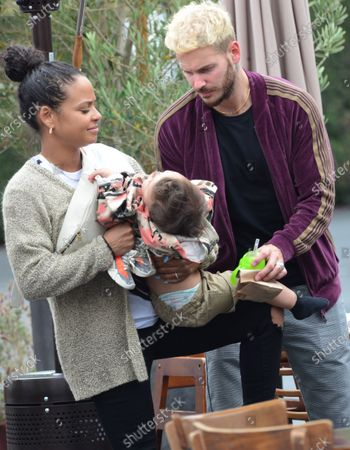 Christina Milian is seen out in West Hollywood with husband M Pokora and son Isaiah Tota