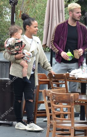 Stock Photo of Christina Milian is seen out in West Hollywood with husband M Pokora and son Isaiah Tota
