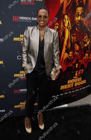 """Stock Image of Aisha Tyler poses at the premiere of the film """"The House Next Door: Meet The Blacks 2"""" at Regal L.A. Live, in Los Angeles"""