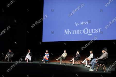 """Moderator Michael Schneider, Rob McElhenney, Creator/Writer/Executive Producer, Megan Ganz, Creator/Executive Producer, Charlotte Nicdao, David Hornsby, Writer/Executive Producer, Ashly Burch, Writer, Imani Hakim, Danny Pudi and F. Murray Abraham of """"Mythic Quest"""" at Apple's FYC Summer Screening Series at The Ford Ampitheater. Season two of """"Mythic Quest"""" is streaming now on Apple TV+."""