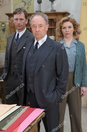 Stock Photo of Pictured :Michael Kitchen as Christopher Foyle, Anthony howell as Paul Milner and Honeysuckle Weeks plays Sam Stewart.