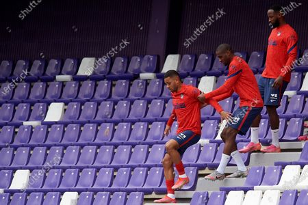 Renan Lodi, Geoffrey Kondogbia, Moussa Dembele of Atletico Madrid during the La Liga Santander match between Real Valladolid CF and Atletico de Madrid at Estadio Municipal Jose Zorrilla on May 22, 2021 in Valladolid, Spain. Sporting stadiums around Spain remain under strict restrictions due to the Coronavirus Pandemic as Government social distancing laws prohibit fans inside venues resulting in games being played behind closed doors
