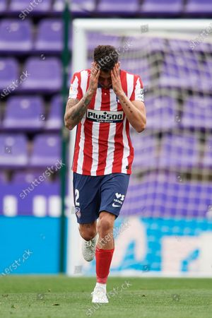 Jose Maria Gimenez of Atletico Madrid reacts during the La Liga Santander match between Real Valladolid CF and Atletico de Madrid at Estadio Municipal Jose Zorrilla on May 22, 2021 in Valladolid, Spain. Sporting stadiums around Spain remain under strict restrictions due to the Coronavirus Pandemic as Government social distancing laws prohibit fans inside venues resulting in games being played behind closed doors