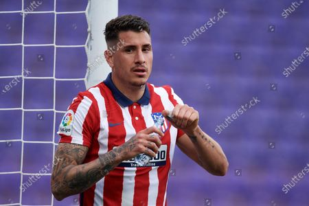 Jose Maria Gimenez of Atletico Madrid during the La Liga Santander match between Real Valladolid CF and Atletico de Madrid at Estadio Municipal Jose Zorrilla on May 22, 2021 in Valladolid, Spain. Sporting stadiums around Spain remain under strict restrictions due to the Coronavirus Pandemic as Government social distancing laws prohibit fans inside venues resulting in games being played behind closed doors