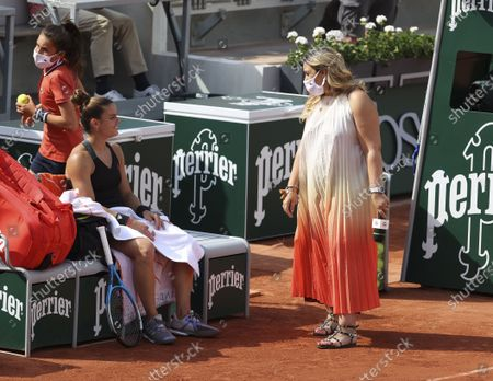 Stock Image of Maria Sakkari of Greece with Marion Bartoli after her victory