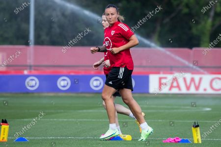 Natasha Harding in trianing as the Wales team prepares for their game against Scotland in a training session at the Vale Resort in Cardiff, Wales.