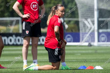 Natasha Harding in training as the Wales team prepares for their game against Scotland in a training session at the Vale Resort in Cardiff, Wales.