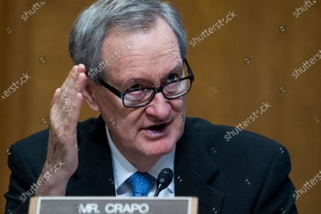 Sen. Mike Crapo, R-Idaho, speaks during a Senate Finance Committee hearing on the IRS budget request on Capitol Hill in Washington