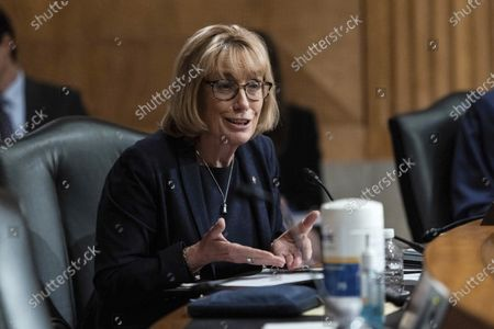 Stock Photo of Sen. Maggie Hassan, D-N.H., questions Colonial Pipeline CEO Joseph Blount during a Senate Homeland Security and Government Affairs Committee hearing one day after the Justice Department revealed it had recovered the majority of the $4.4 million ransom payment the company made in hopes of getting its system back online, on Capitol Hill, in Washington