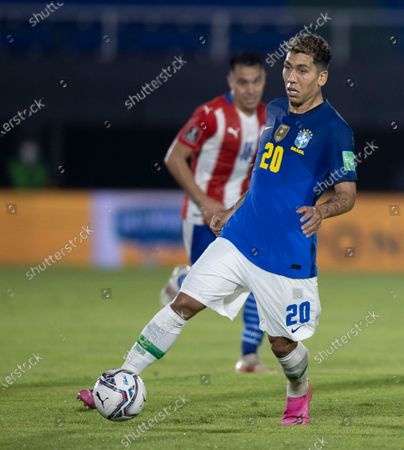 Stock Picture of Roberto Firmino of Brazil; Defensores del Chaco Stadium, Asuncion, Paraguay; World Cup football 2022 qualifiers; Paraguay versus Brazil.