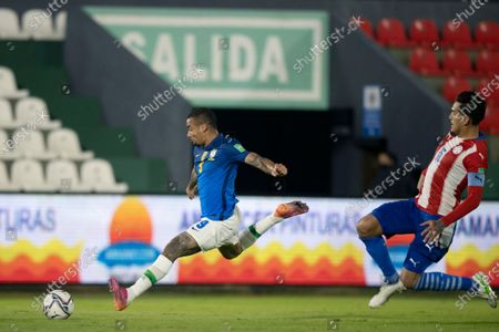 Gustavo Gómez of Paraguay and Gabriel Jesus of Brazil; Defensores del Chaco Stadium, Asuncion, Paraguay; World Cup football 2022 qualifiers; Paraguay versus Brazil.