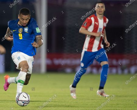 Gabriel Jesus of Brazil; Defensores del Chaco Stadium, Asuncion, Paraguay; World Cup football 2022 qualifiers; Paraguay versus Brazil.
