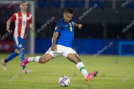 Gabriel Jesus of Brazil takes a shot at goal; Defensores del Chaco Stadium, Asuncion, Paraguay; World Cup football 2022 qualifiers; Paraguay versus Brazil.
