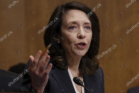 US Senator Maria Cantwell (D-WA) speaks during a Senate Finance Committee hearing on the IRS budget request on Capitol Hilll in Washington, DC, USA, 08 June 2021.