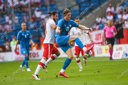 Stock Picture of Jon Dadi Bodvarsson of Iceland in action during the international friendly match between Poland and Iceland at Stadion Poznan on June 08, 2021 in Poznan, Poland.