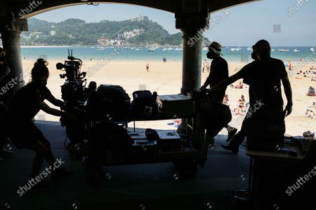 Tony Kaye, director of 'American History X' shoots a J&B commercial on La Concha Beach