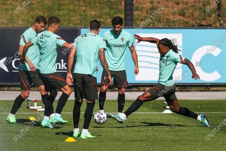 Portugal's players (L-R) Ruben Dias, Andre Silva, Jose Fonte, Goncalo Guedes and Renato Sanches in action during their team's training session in Oeiras, on the outskirts of Lisbon, Portugal, 08 June 2021. Portugal is preparing for the upcoming UEFA EURO 2020 soccer championship.