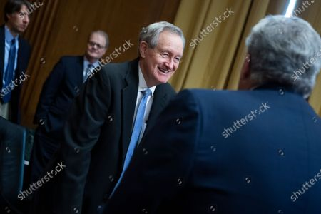 Ranking member Sen. Mike Crapo, R-Idaho, left, greets Charles P. Rettig, commissioner of the Internal Revenue Service, before Rettig testified during the Senate Finance Committee hearing titled 'The IRS's Fiscal Year 2022 Budget,' in Dirksen Senate Office Building in Washington, DC, USA, 08 June 2021.