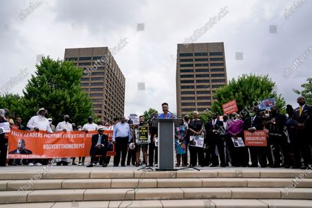 Bernice King, daughter of slain civil rights leader Rev. Martin Luther King Jr., speaks during a voting rights rally at Liberty Plaza near the Georgia State Capitol, in Atlanta