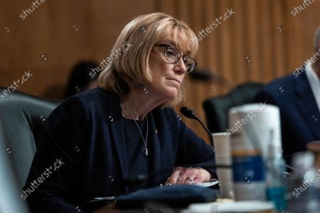 Senator Maggie Hassan, D-NH, looks on during a Senate Homeland Security and Government Affairs Committee hearing on the Colonial Pipeline cyber attack,, on Capitol Hill, in Washington.