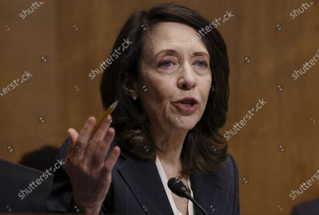 U.S. Senator Maria Cantwell (D-WA) speaks during a Senate Finance Committee hearing on the IRS budget request on Capitol Hill in Washington U.S.,.