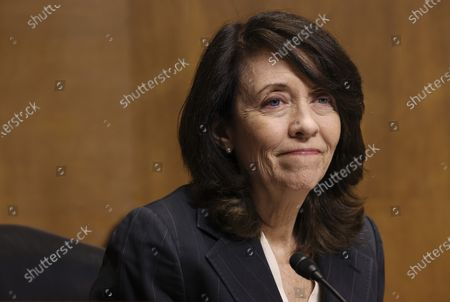 U.S. Senator Maria Cantwell (D-WA) attends a Senate Finance Committee hearing on the IRS budget request on Capitol Hill in Washington U.S.,.