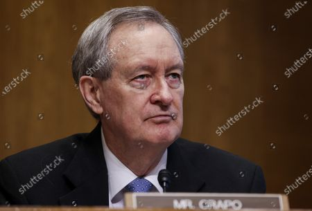 U.S. Senator Mike Crapo (R-ID) attends a Senate Finance Committee hearing on the IRS budget request on Capitol Hill in Washington U.S.,.