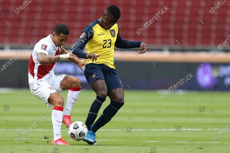 Stock Picture of Ecuador's Moises Caicedo (R) in action against Peru's Yoshimar Yotun during the soccer match of the South American qualifiers for the Qatar 2022 World Cup between Ecuador and Peru, at the Rodrigo Paz Delgado Stadium in Quito, Ecuador, 08 June 2021.